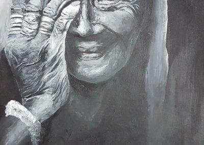 Acryl auf Karton, Frau mit Hand