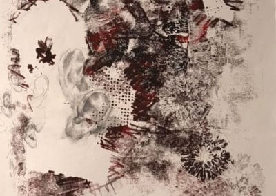 Mischtechnik auf Papier, akustische Wahrnehmung
