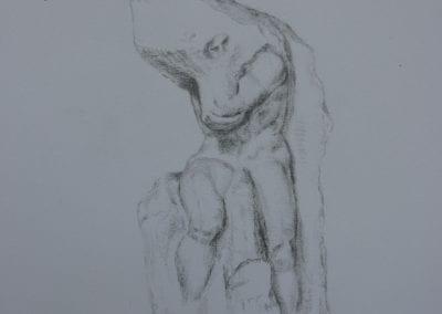 Bleistiftzeichnung, ein Sklave von Michelangelo