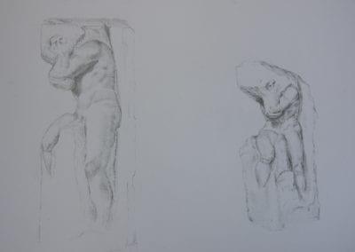 Bleistifftzeichnung, die Sklaven von Michelangelo