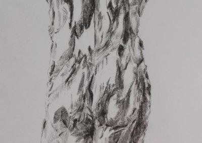 Bleistiftzeichnung, zerklüftete Antike