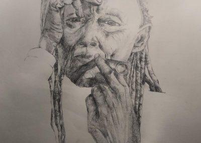 Bleistiftzeichnung, Indianer