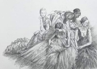Bleistift auf Papier, Ballettgruppe