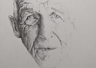 Bleistift auf Papier, Gesicht
